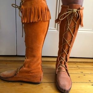 Lace-Up, Fringed Minnetonka Boots